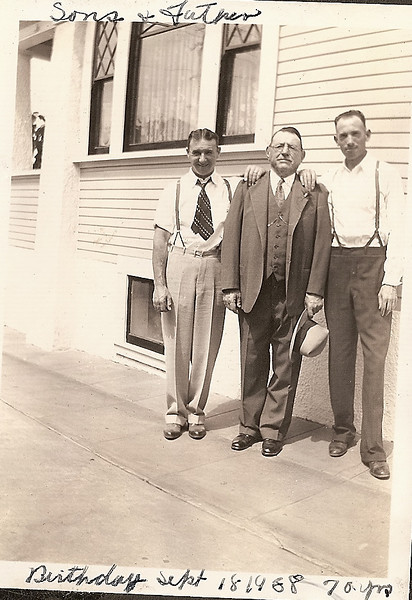 Gerolamo Bregante stands between his sons, James (left) and John, on the occasion of his 70th birthday, September 18, 1938.