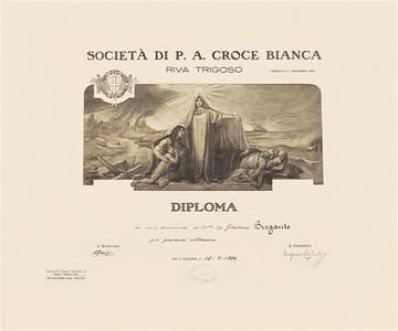 "In December, 1922, Gerolamo Bregante visited his home town of Riva Trigoso, Italy, after his immigration to the United States in 1886. During his visit to his home  town, Gerolamo made donations to the Societa di Croce Bianca and the church, St. Pietro.  The Croce Bianca presented Gerolamo with a Diploma in recognition of his donation. St. Pietro church placed an inscription on a ceiling painting: ""In honor of his father Antonio Bregante by his son Gerolamo Bregante."""