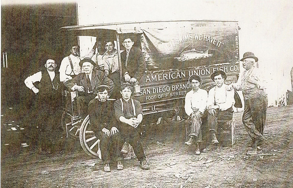 Circa 1914. American Union Fish Market fish truck. Manager Gerolamo Bregante is at left.