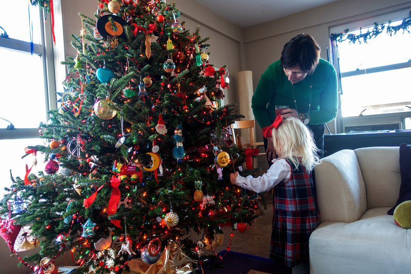 Kevin's Christma Tree gets inspected by Tess and Pat