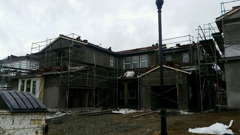 April 9 - First coat of the stucco