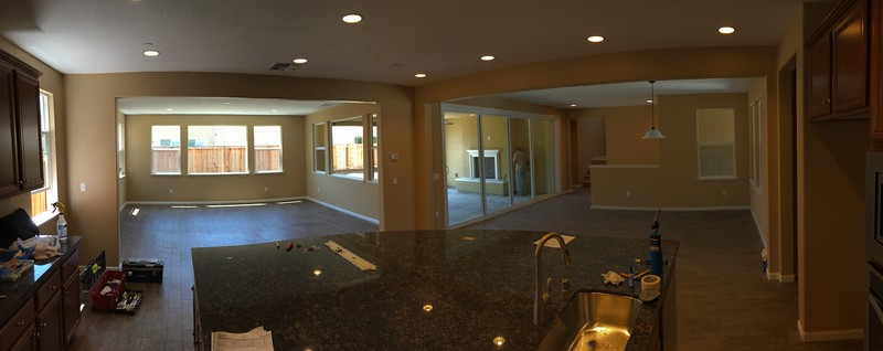 May 31 - Pano of all three rooms from pantry door.