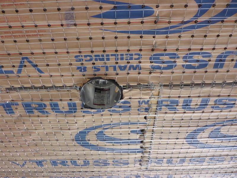 Mar 19 - California room ceiling, light to joist 1