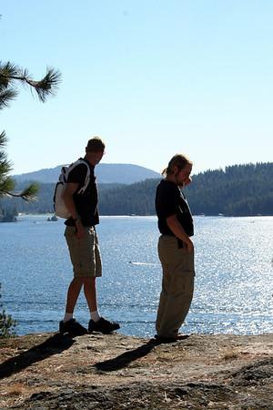 Patrick & Tristan enjoying the veiw of the lake.