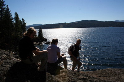 Tristan, Brin, & Patrick enjoying the view of the lake. There is a big rock on Tubbs Hill that Patrick & I like to climb up on and enjoy the view of Lake Coeur d' Alene.