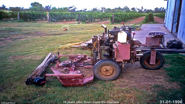 Brian Harris built this hydraulic propelled mower in 1980 in the Greenbank shed he built. (Learned 'Fluid Power' at Yeronga Technical College for 22 nights)