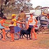 Lots of family activity on Holden shooting rig. Kimba dog enjoys it all. Yeronga at Goombi ot of Chinchilla.  Nice chest lady on right with town shoes on.