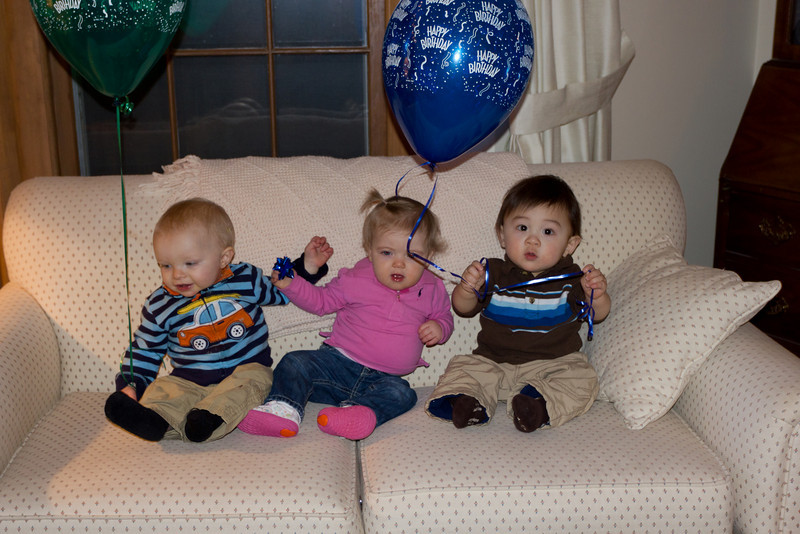 Anders, Alexis, and Bryce at Anders' 1st birthday party. These three were born on Jan. 3rd, 5th, and 7th.