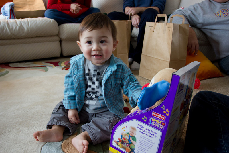 Another of Bryce's favorite Christmas gifts was this puppy from Uncle Dan.