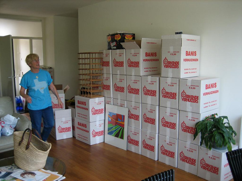 livingroom full of boxes and  my mom