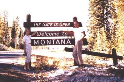 Sep 1957 - Entering Montana on our way to Flathead Lake
