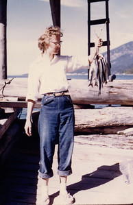 Sep 1957 - Carole with the catch of the day