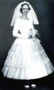 Aug 1957 - Carole in wedding dress