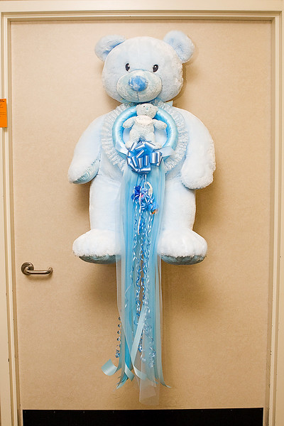 IT'S A BOY! TEDDY BEAR ON HOSPITAL ROOM DOOR