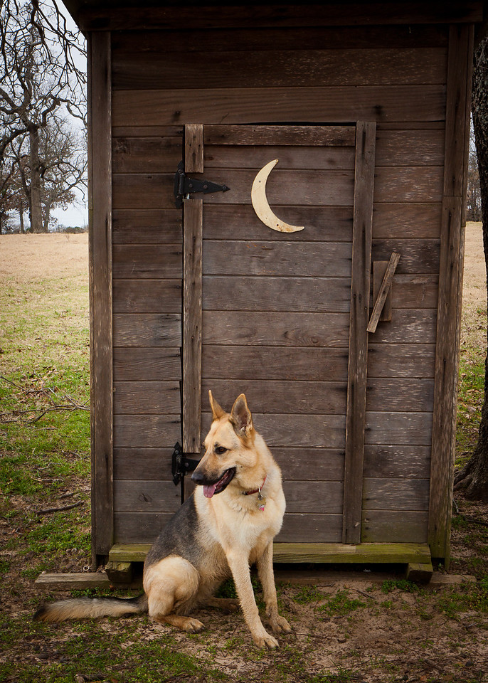 Kiara at the outhouse.
