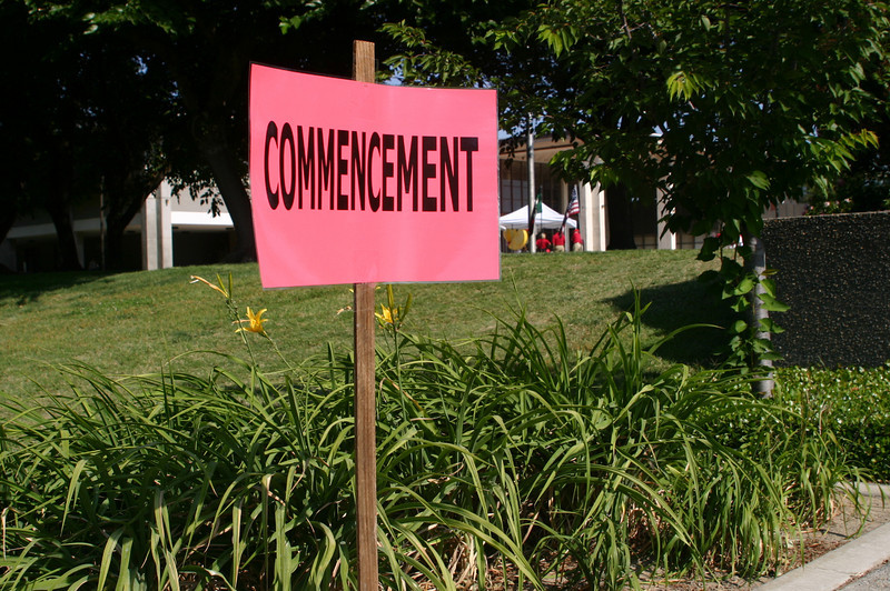 Sign on the campus in case you got lost wandering from the parking lot on the complete far side of campus which was the only place where there was parking left at 7:40 in the morning for an 8:00 graduation.