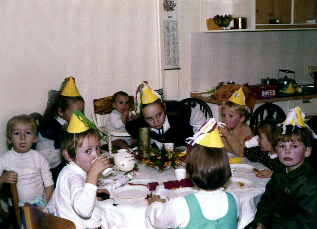 Christmas 1972 - includes Duncan, Bruce, Sally and Lucy Springbett, Andrew, James, Victoria and Elizabeth Calder