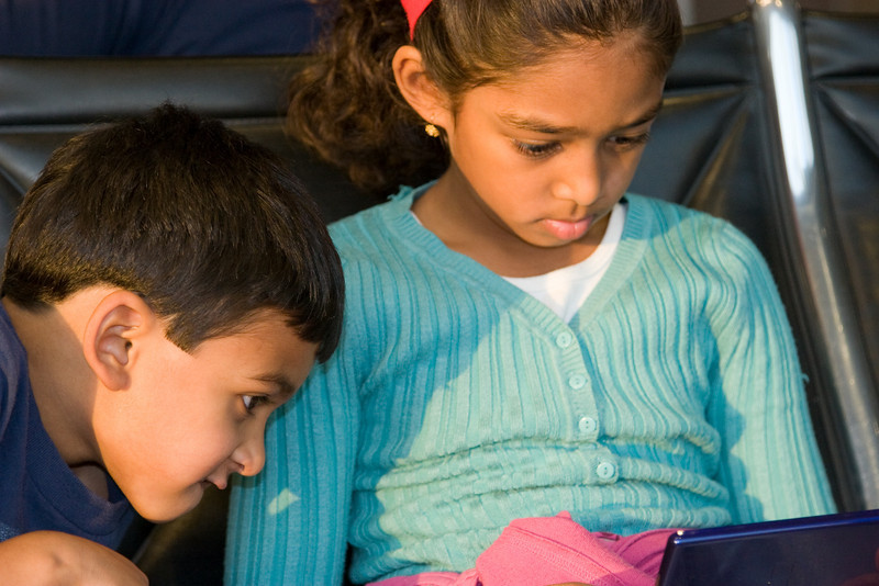 Waiting in the Austin airport, Rithik and Resya and playing with the NDS