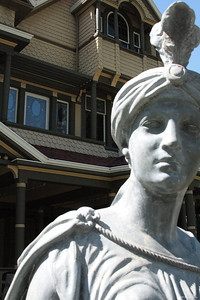 Statue at Winchester Mystery House.