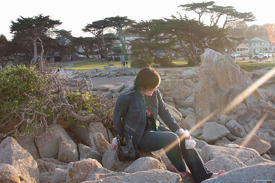 Tori in the sunlight at Monterey, CA.  I love the light / lens flare in this photo.