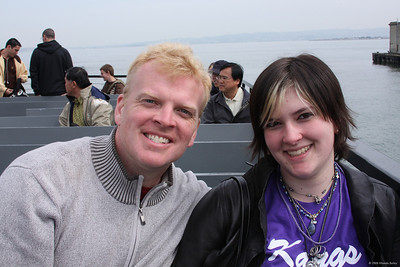 Richard and Tori on the boat to Alcatraz