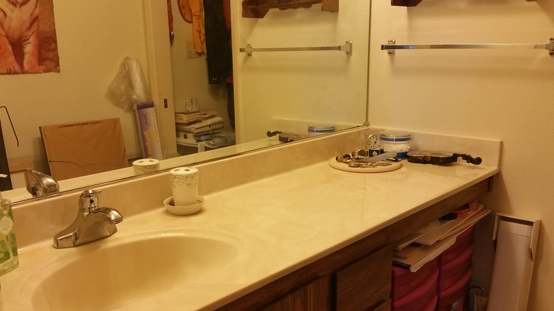 Got rid of all the junk on the vanity top in the spare room on the first and second trips!