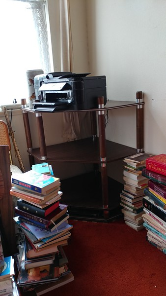 The corner book shelves in the living room, with the all-in-one printer that's still working...