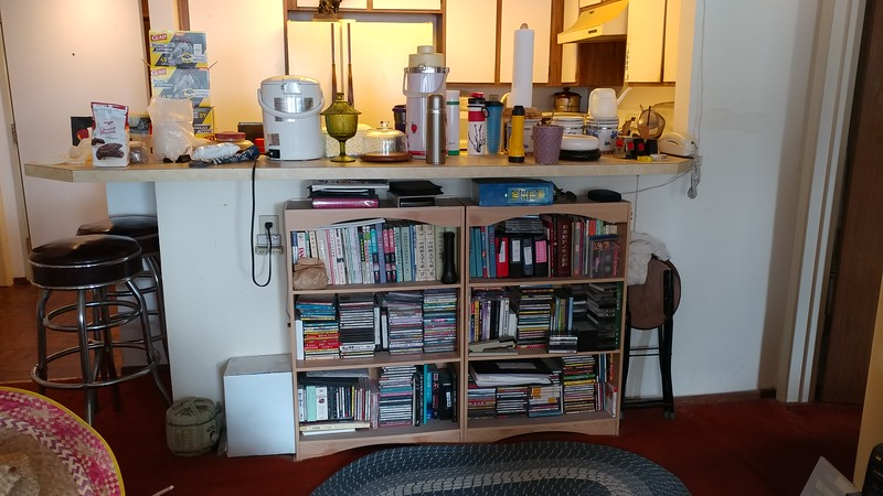 "The bookcase near the kitchen counter...  Also got rid of that ""Mexican"" hat (on the lower left corner) that Jenny wanted to keep - threw it out the day she did not go to San Pablo with us on Wed 4/12!...  ;-)"