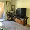 The living room with TV and corner shelves.