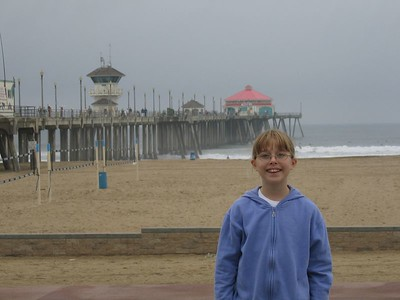 Natalie in front of the Huntington Beach Pier.