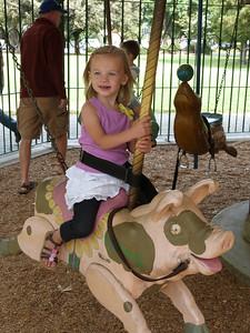 Cambria at the Delta Breeze carousel at Central Park, Davis, CA