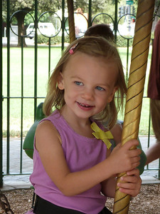 Cambria at the Delta Breeze carousel at Central Park, Davis, CA