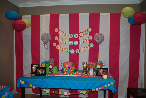 Camden, Claire and Carlyle's Sweet Shoppe Bday Party