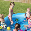 Aubrey, Gage, Charley, Camden and Claire hanging out in the pool.