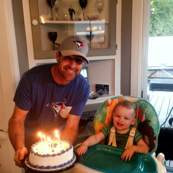 Celebrating Greg's 35th birthday - Sept 22.  Dairy Queen cake was a big hit with Greg & Camden.