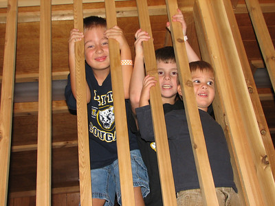 The boys upstairs in the loft of the cabin.  Tyler loved this!