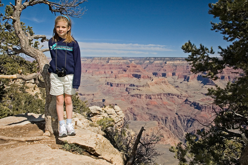 Sara, posing right at the Canyon's edge.