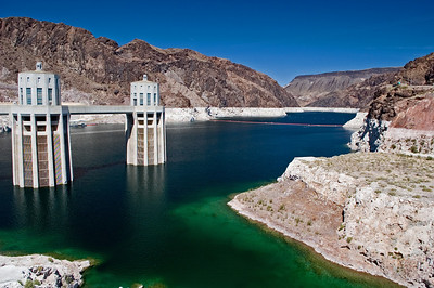 Lake Mead on the other side of the dam.  Beautiful colored water, but you can see that the lake level is far, far below it's capacity.