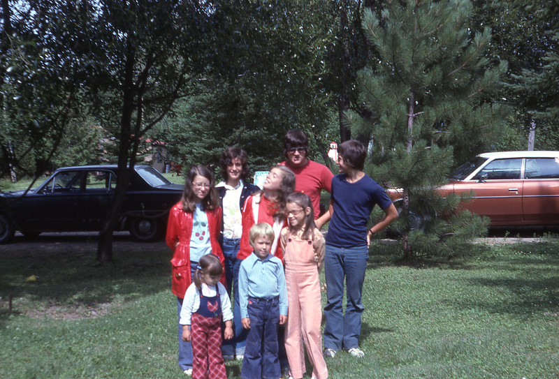 July 75 - cousins at cottage - L-R fr Michelle, Neil, Cathy; mid Joanne, Jackie, Sue; br Richard, Carl