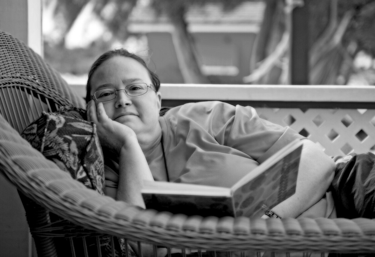 Kelley relaxing in the beach cabana at Half Moon Cay, Bahamas.