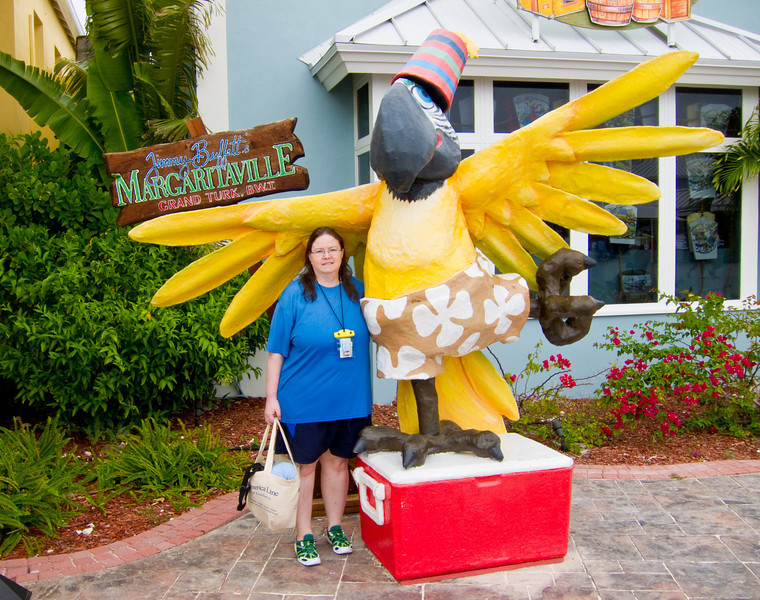 Kelley in front of Margaritaville at Grand Turk.