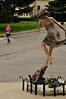 """Mile 25, Downtown Carmel Arts District, The famous """"Dancing Girl"""" statue salutes the """"Running Girl."""""""