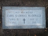 This is Carol's tombstone in the Savannah Bonaventure Cemetery