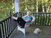 Carol loved sitting on the deck of our cabin and looking at the beautiful NC mountains with Bradley always at her side.