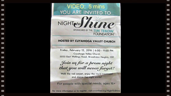 "Video-5 mins. ""Prom Night"" Fri., Feb. 12, 2016-Tim Tebow Foundation"