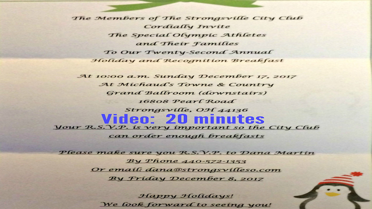 Video:  20 mins ~~ Strongsville City Club's 22nd Annual Holiday and Recognition Breakfast, Sun., Dec. 17, 2017, Strongsville, OH