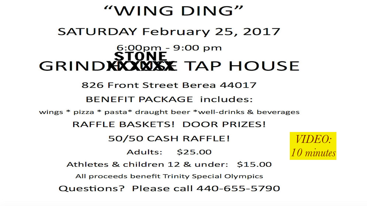 """Video:  Trinity Special Olympics """"Wing Ding"""" Sat., 02-25-2017, Berea, OH  (Click on image above and then on triangle and video will play.)"""