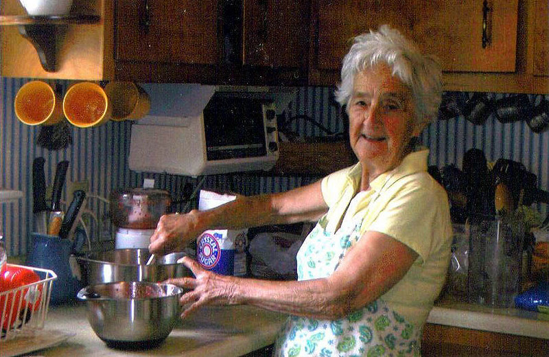 Granny making strawberry jelly in Mom's kitchen recently.   She's a special lady.<br /> She is still sharp, but very hard of hearing.