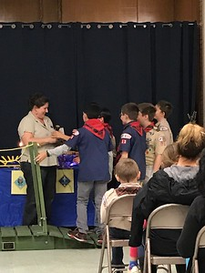 The new Boy Scouts thank Amanda for all that she has done.  She also was recognized by the Cub Master.