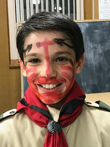 Our Carson with his Indian paint ... not sure what that signifies!